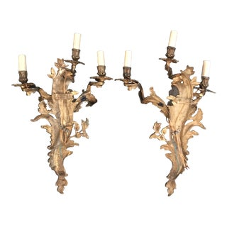 French Louis XV Gold Gilt Bronze Sconces -A Pair For Sale