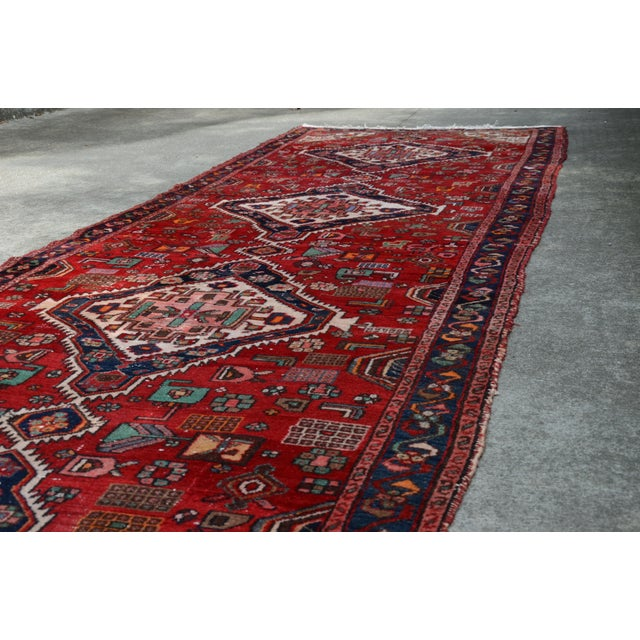 """Extra Large Persian Hand Woven Hamadan Runner - 16' X 4' 8"""" For Sale - Image 9 of 12"""