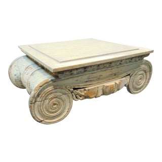 Architectual Carved Wood Column Top Coffee Table For Sale