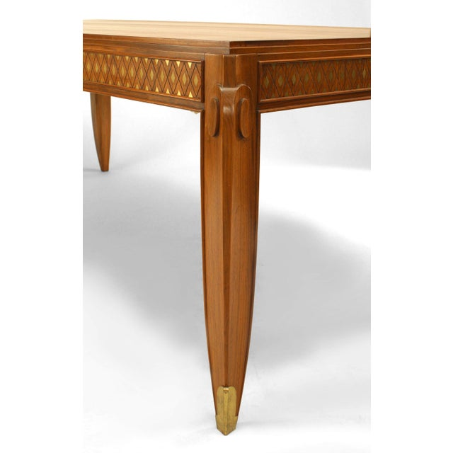 Jean Pascaud Fine French Inlaid Rosewood Dining Table, by Jean Pascaud For Sale - Image 4 of 5