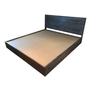 Room & Board Hudson Grey Cal King Bed With Storage Drawers and Sealy Posturpedic Mattress