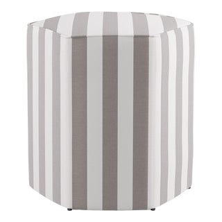 Hexagonal Ottoman in Taupe Cabana Stripe For Sale