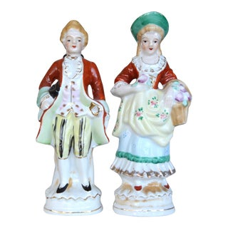 Vintage Hand Painted Made in Japan Colonial Porcelain Figurines - a Pair