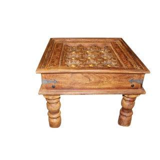 1920s Asian Antique Solid Wood Hand Carved Coffee Table For Sale