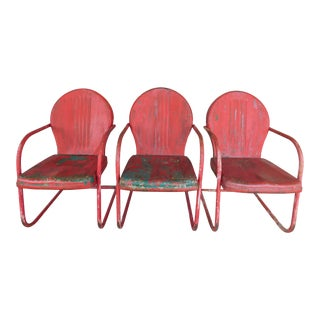 Vintage Steel Spring Base Arm Chairs - Set of 3 For Sale
