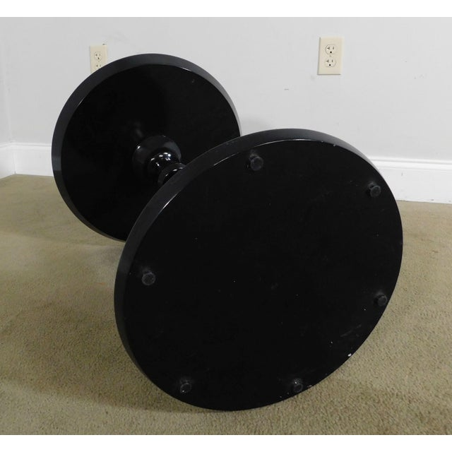 Black Modern Black Lacquer Round Mirror Top Pedestal Side Table For Sale - Image 8 of 13