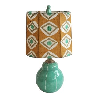 Jade Green Table Lamp With Custom Shade For Sale