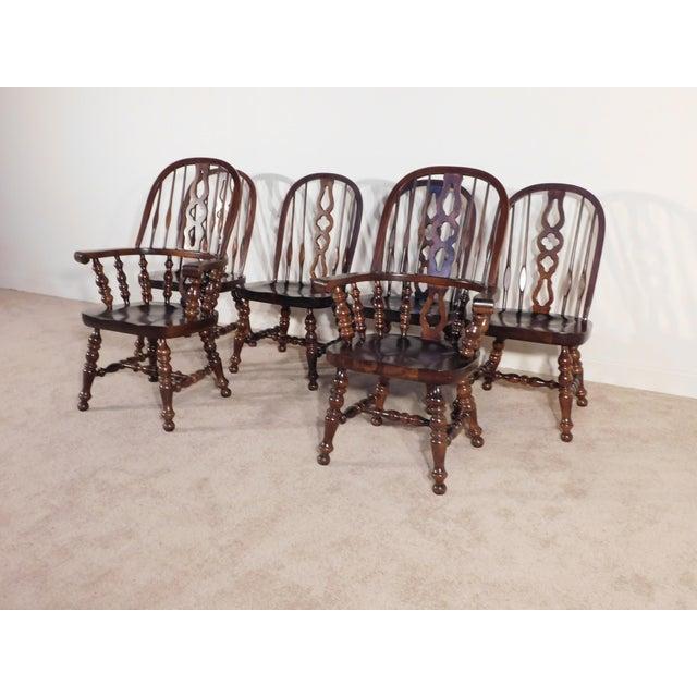 Ethan Allen Tavern Collection Dark Pine Windsor Dining Chairs Set Of 6 Chairish