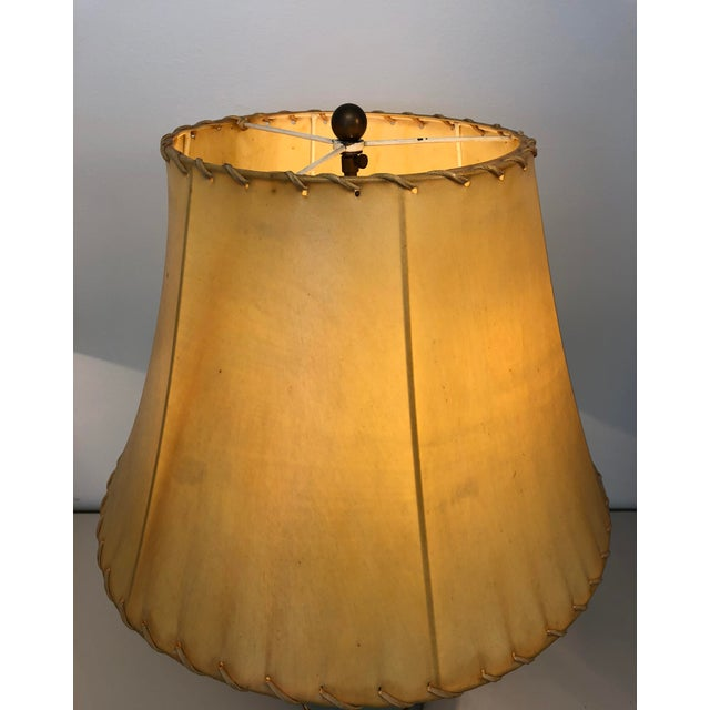 "Parchment Rawhide Shade with Self Stitch Detail Top and Bottom 10"" Top x 18"" Base x 12"" Height with a Flush Drop Washer..."
