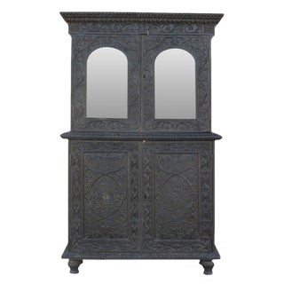 Anglo-Indian Carved Indo Portuguese Cabinet For Sale