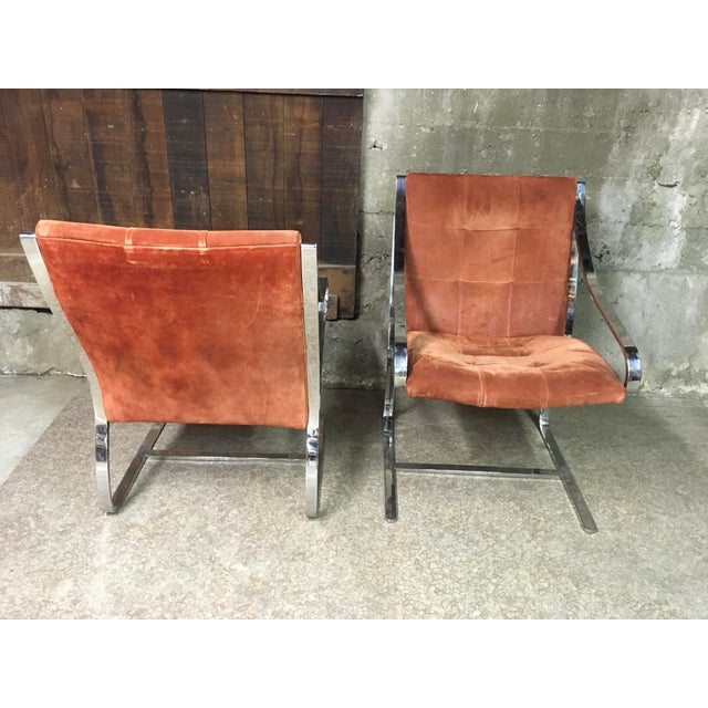Brueton Bert England Brueton Steel Frame Cantilevered Lounge Chairs- a Pair For Sale - Image 4 of 11