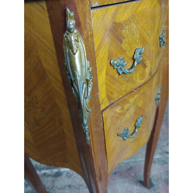 Marble Antique French Marquetry Petit Commodes W/Marble Top - a Pair For Sale - Image 7 of 10