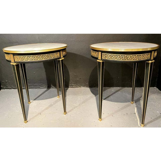 Jansen Style Bouliotte / End Tables Bronze Mounted - a Pair For Sale - Image 10 of 13