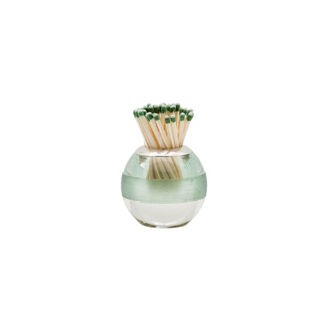 Edwardian, sterling silver-mounted threaded crystal match striker in a rare green stripe. Very good condition. This...