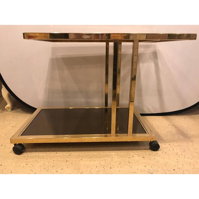 Hollywood Regency Italian Brass and Smoked Glass Bar Cart For Sale - Image 3 of 9
