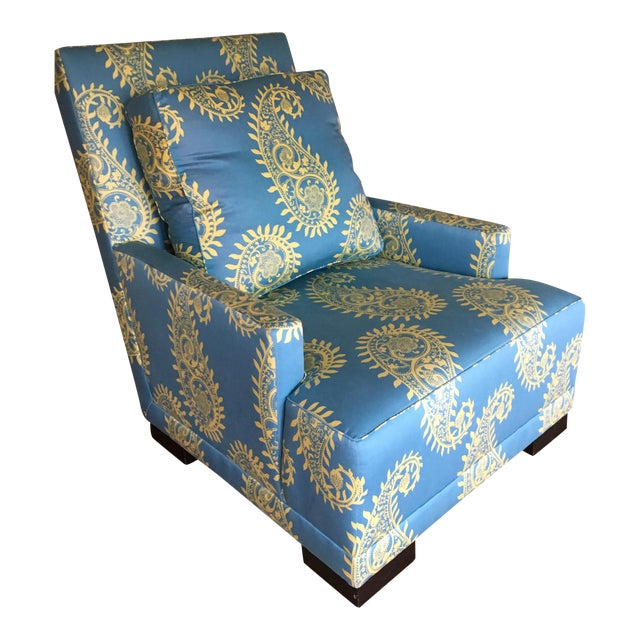 Blue Paisley Silk Upholstered Club Chair - Image 1 of 4
