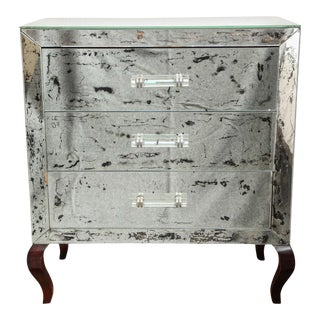 Antique-Mirrored Chest With Lucite Handles, C. 1940s