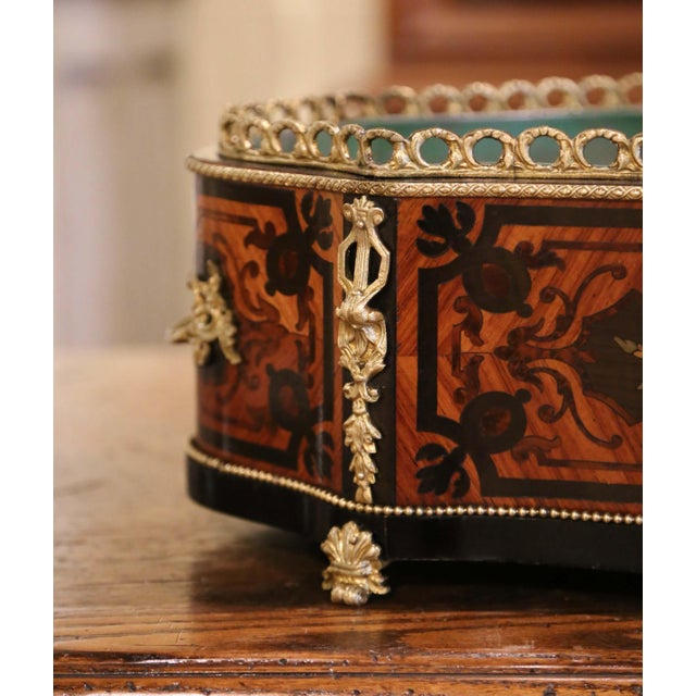 Metal 19th Century French Rosewood Bombe Jardinière With Marquetry and Bronze Mounts For Sale - Image 7 of 9