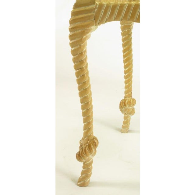 Wood Carved & Limed Wood Knotted Rope End Table For Sale - Image 7 of 8