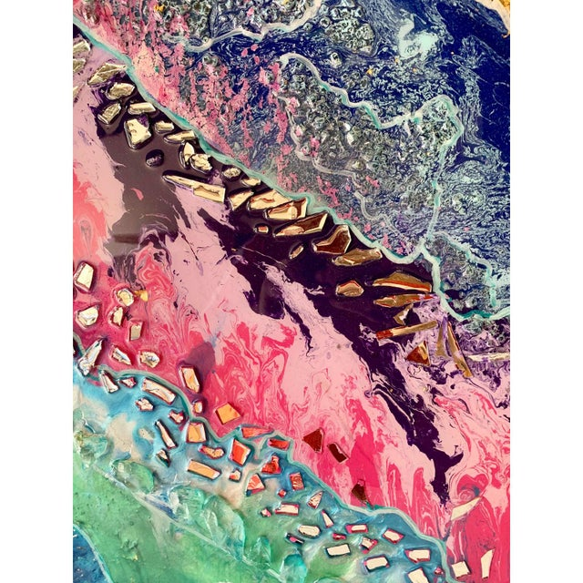 Unique Abstract Framed Oil Painting With Resin and Rock Crystal on Canvas by Franchy For Sale - Image 9 of 13