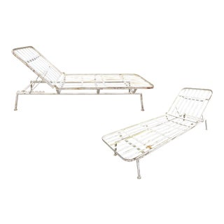Pair of Modernist Outdoor Chaise Lounges For Sale