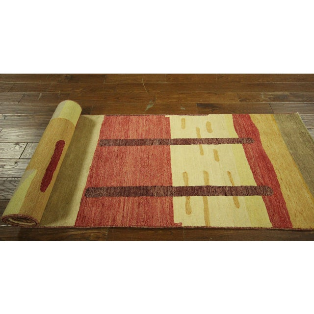 "Abstract Modern Runner Gabbeh Rug - 2'6"" x 10'1"" - Image 9 of 9"