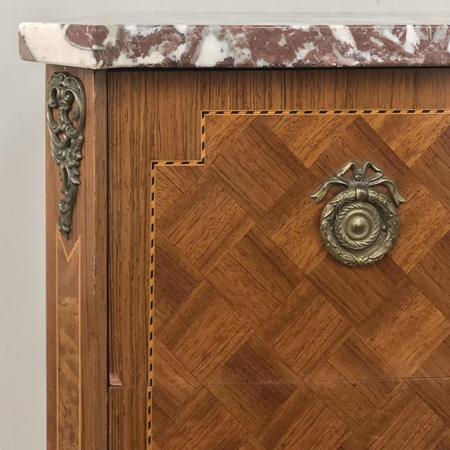 Metal Antique French Louis XVI Marquetry Marble Top Commode For Sale - Image 7 of 13