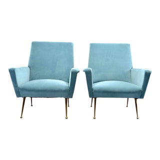 Pair Italian Mid Century Lounge Chairs With New Upholstery For Sale