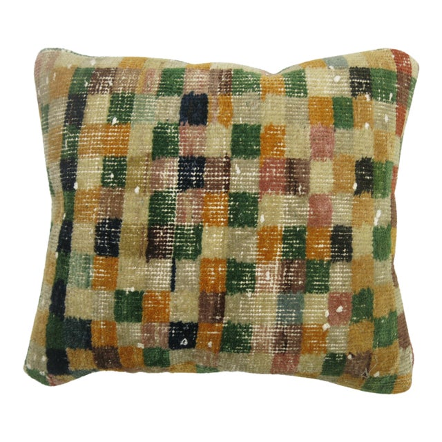 Turkish Checkerboard Rug Pillow - Image 1 of 3