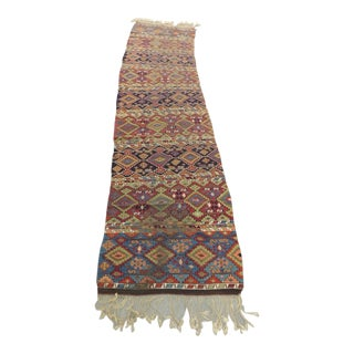 Vintage Green and Orange Long Kilim Runner With Hand-Knotted Fringes For Sale