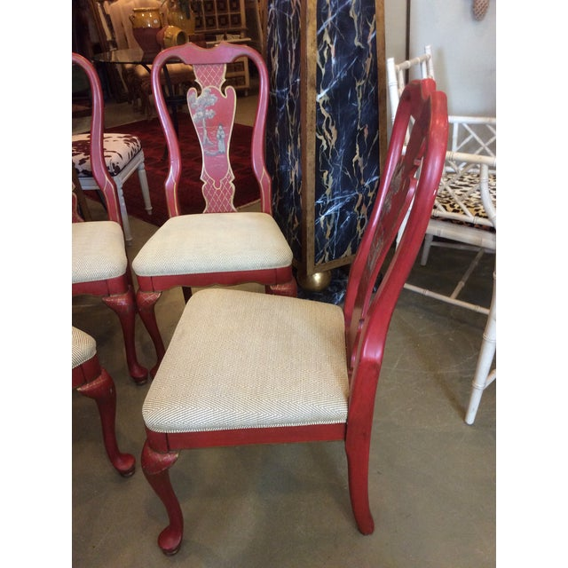 Red Red Chinoiserie Dining Chair - Set of 4 For Sale - Image 8 of 13