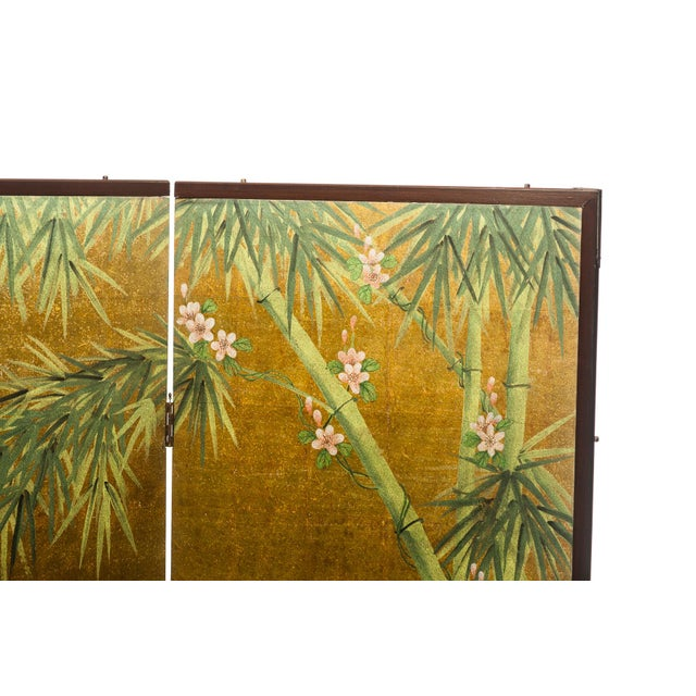 """1990s Lawrence & Scott Chinese Inspired """"Bamboo Scene With Poem"""" Hand-Painted Gold Foil 2-Panel Screen For Sale - Image 5 of 13"""