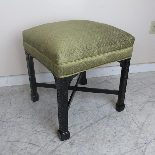1960s Vintage Chinese Chippendale Style Stools - a Pair For Sale - Image 5 of 9