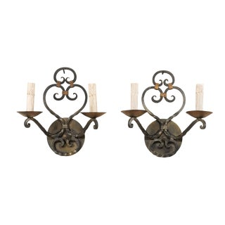 French Mid-Century Two-Light Scrolled Iron Sconces - a Pair For Sale
