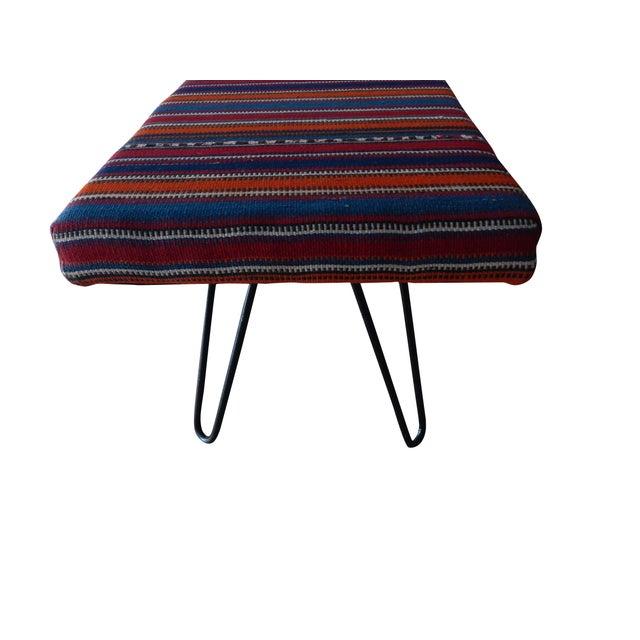 Metal Kilim Bench With Hairpin Legs, Vintage Kilim Rug Ottoman, Kilim Upholstered Bench With Turkish Kilim Rug For Sale - Image 7 of 10