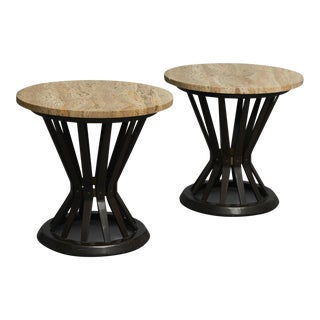 "Edward wormley ""Sheaf of wheat"" tables with travertine tops - a pair For Sale"