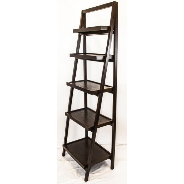 Contemporary Dark Wood Five-Tier Leaning Bookcase For Sale In New York - Image 6 of 6