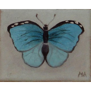 Turquoise Butterfly Oil Painting For Sale
