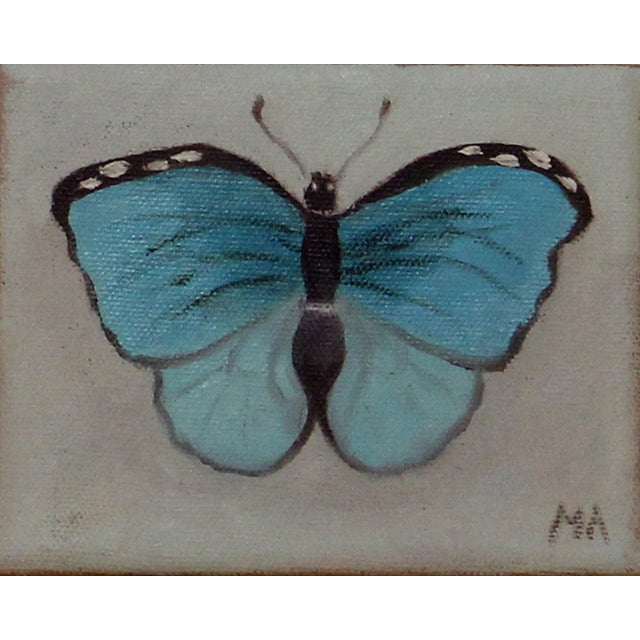 Turquoise Butterfly Oil Painting - Image 1 of 2