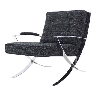 Early 20th Century Vintage Scissor X-Base Chrome Lounge Chair For Sale