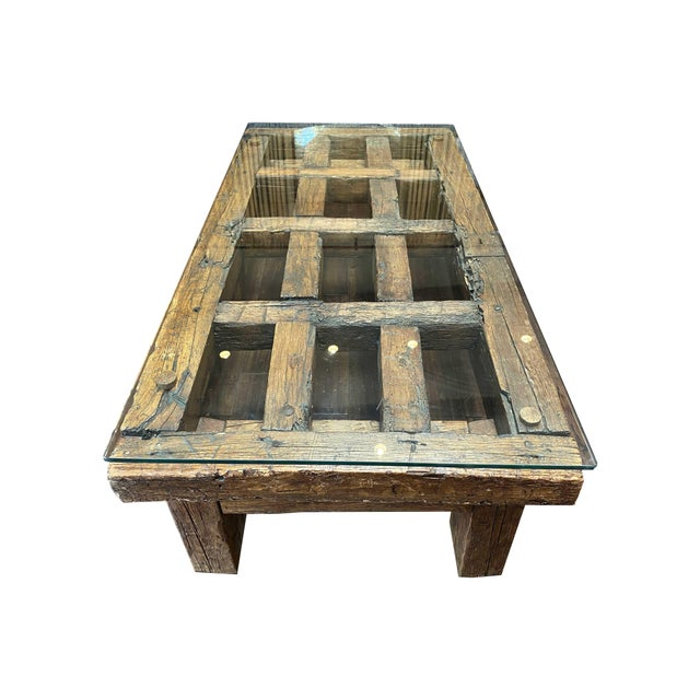 Contemporary Mexican Jail Door Wood Coffee Table For Sale - Image 3 of 7