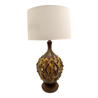 Ceramic Lattice Table Lamp With a Lit Base, Mid-Century For Sale