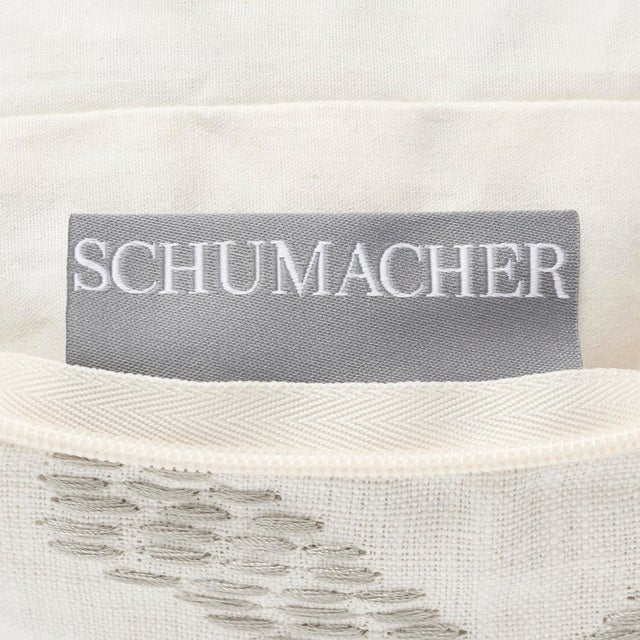 """Contemporary Schumacher Ibiza Flamestitch Pool Cotton Linen Pillow - 20ʺW × 20""""H For Sale In New York - Image 6 of 7"""