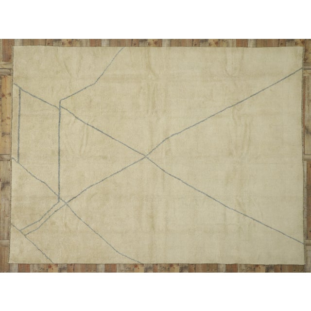 Tan Contemporary Moroccan Area Rug With Modern Style - 10'03 X 13'07 For Sale - Image 8 of 10
