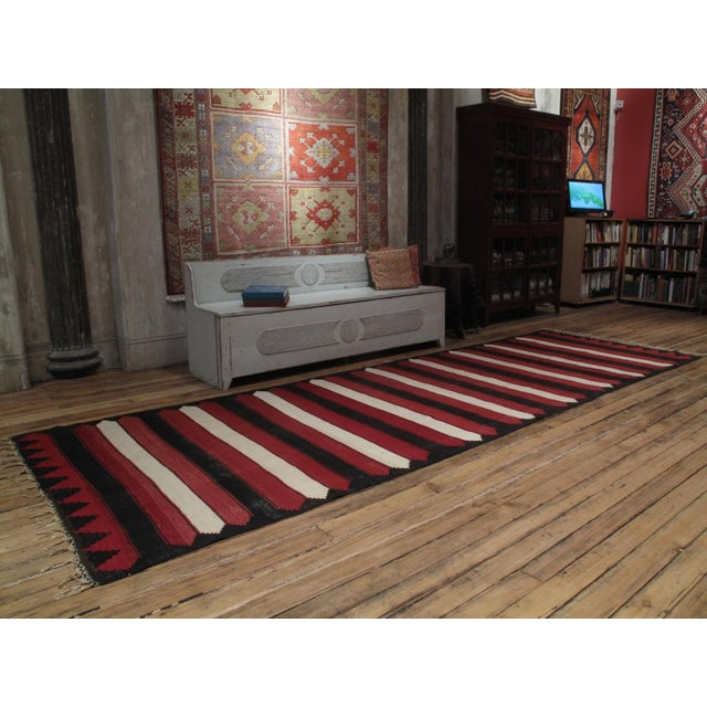 An old tribal kilim from Central Turkey with striking graphics. A rare and unusual type.