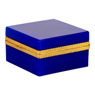 French Royal Blue Opaline Glass and Brass Hinged Box For Sale