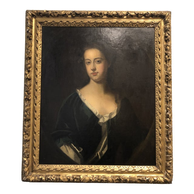18th Century Portrait of a Noble Woman in Carved Gilt Frame For Sale
