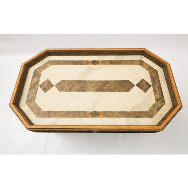 Custom Made Coffee Table Faux Painted in Cream and Gold Colors For Sale In Nashville - Image 6 of 9