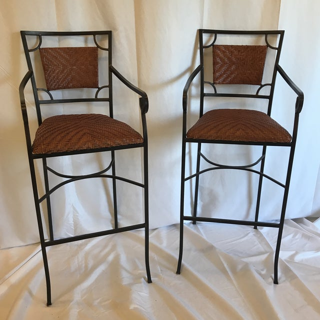Iron and Woven Leather Bar Stools - a Pair For Sale - Image 12 of 12