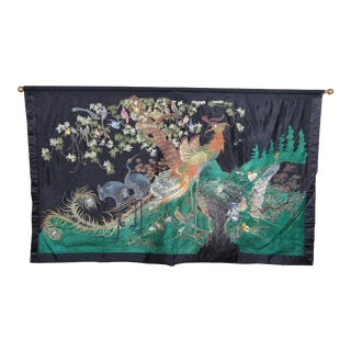 Chinese Bird Motif Silk Embroidered Landscape Tapestry For Sale
